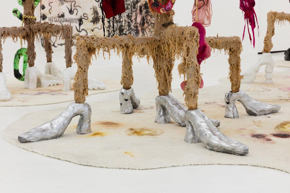 Athena Papadopoulos,  Smurfette, CHEWED UP,  (detail), 2017. Emalin, London. Photo: Lewis Ronald