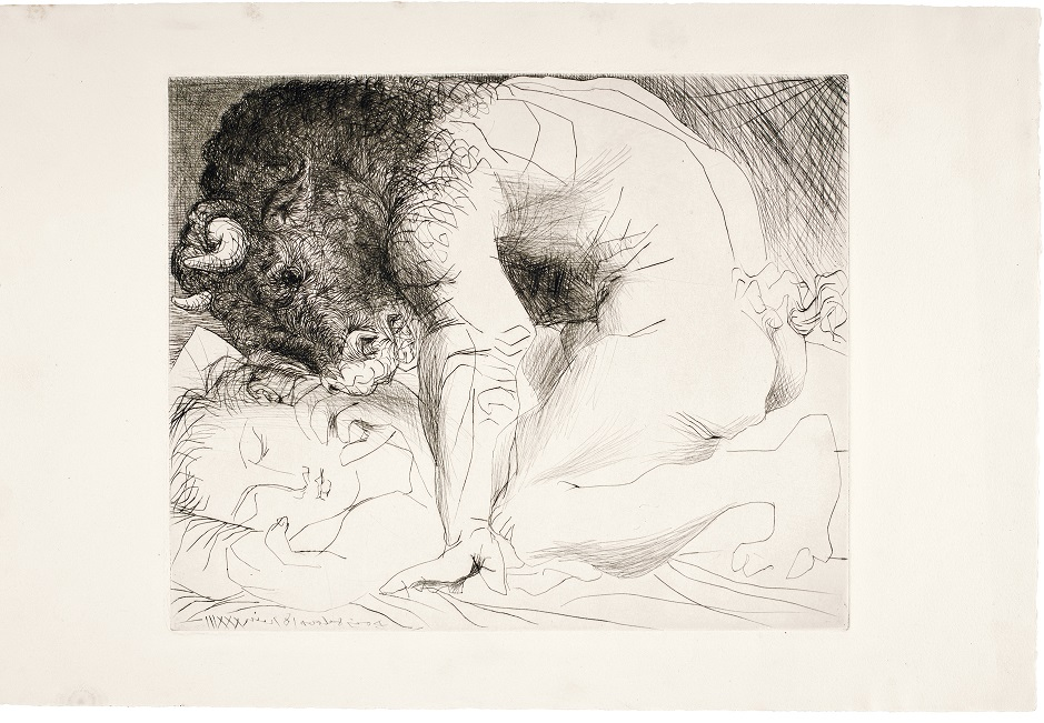 Pablo Picasso, Minotaur Caressing the Hand of a Sleeping Girl With His Face  from the  Vollard Suite ( Suite Vollard ) 1933, published 1939 © 2017 Estate of Pablo Picasso / Artists Rights Society (ARS), New York