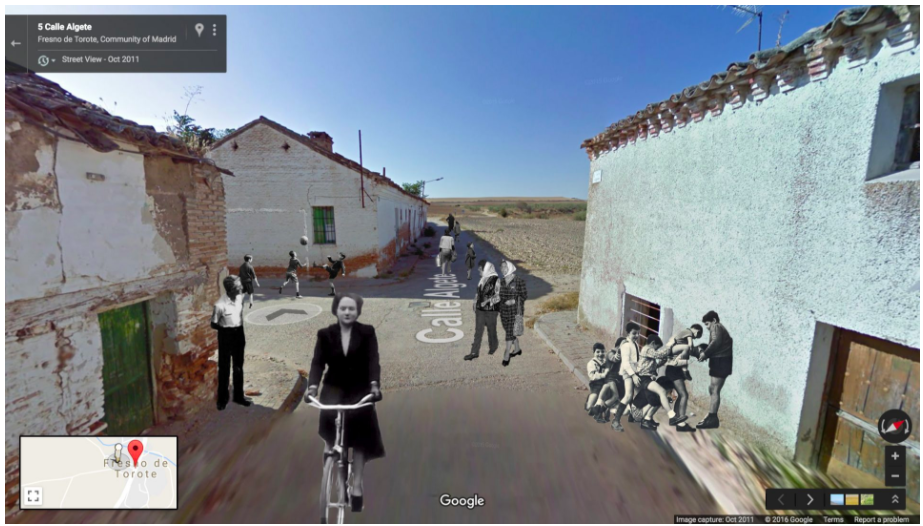 Mock-up montage still for 'Ghost Town Initiative'(2016), Google street view interactive artwork, Elena Kendall-Aranda, courtesy of the artist