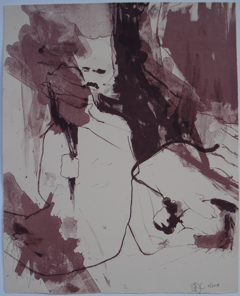 Untitled  (Purple on Cream Magnani); 2004    Lithograph, 12.5 x 15.5 in