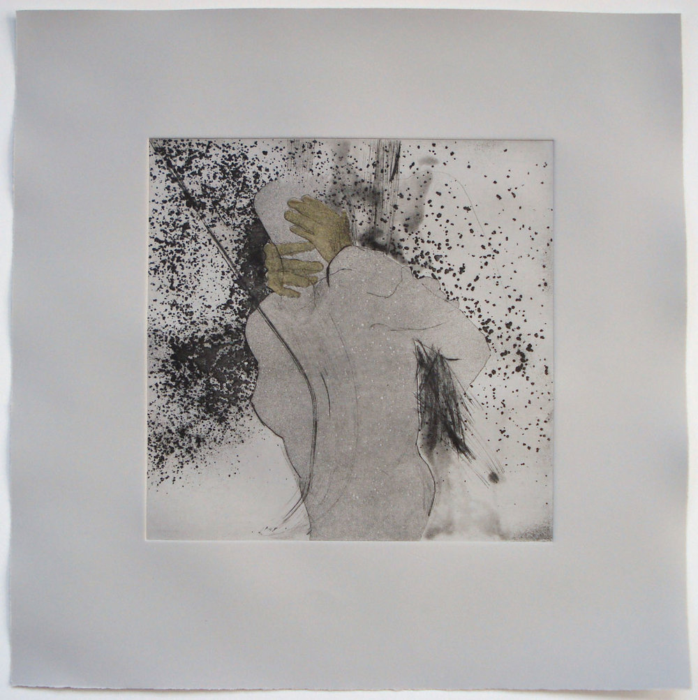 Untitled; 2004    Etching/ Chine Colle, 20 x 20 in