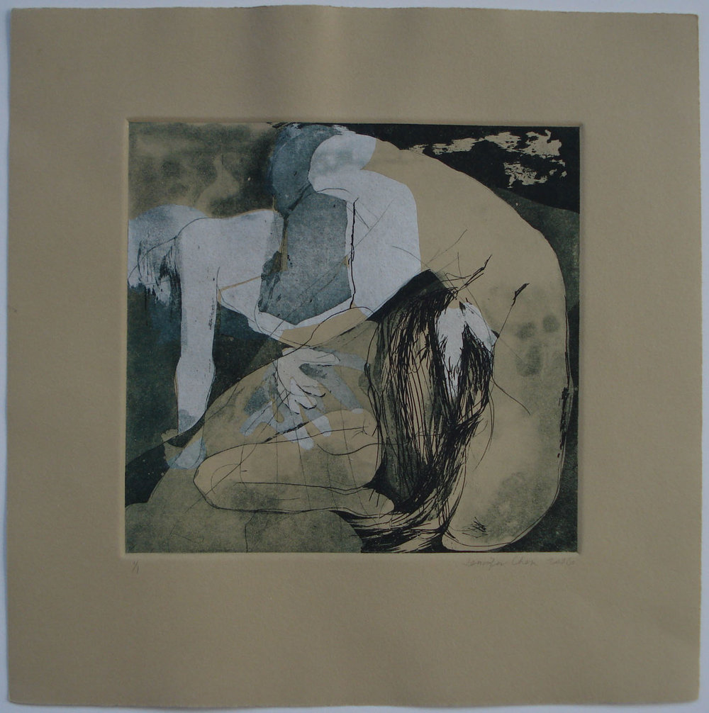 Untitled I; 2006    Intaglio, Chine-collé, 12 x 12 in