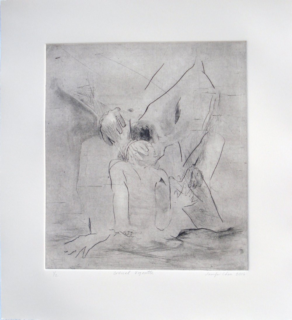 Critical Vignette; 2006    Dry Point, 10.5 x 12 in