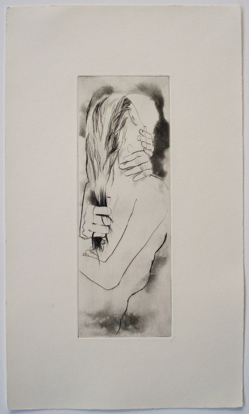 Untitled (hand pulling hair); 2004    Drypoint/Spit-bite,  10 x 17 in