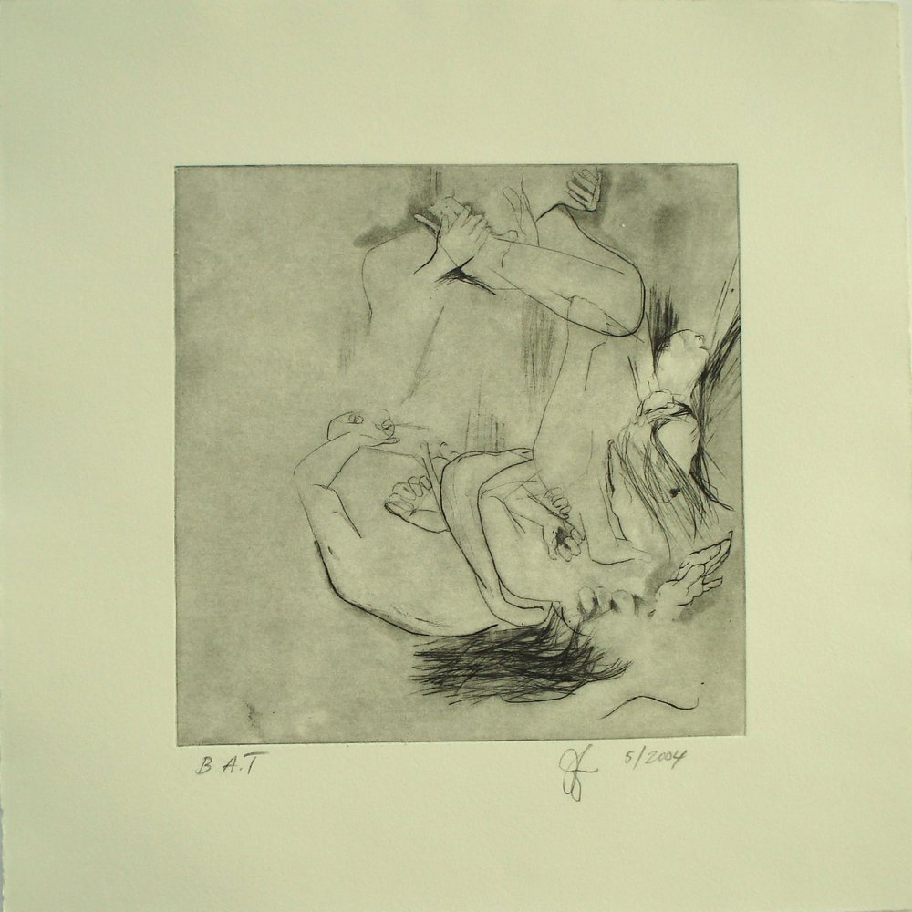 Untitled (Struggle); 2004    Dry Point/Spit-bite, 13.5 x 13.5 in