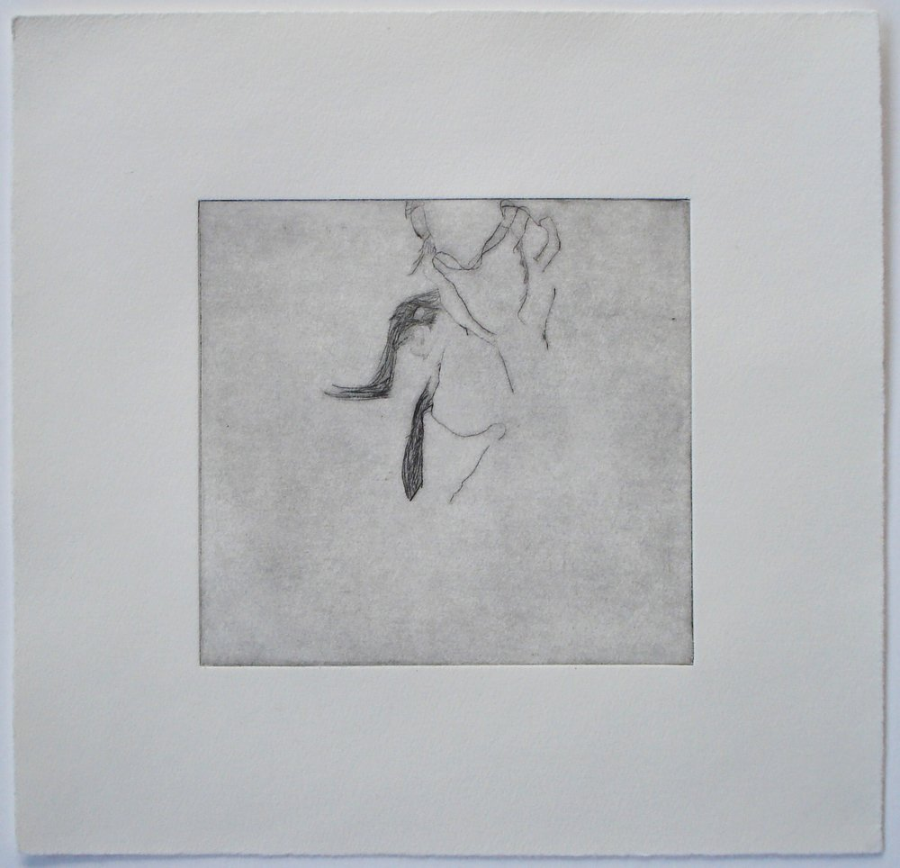 Untitled (hand on neck); 2004    Drypoint, 9.75 x 9.5 in