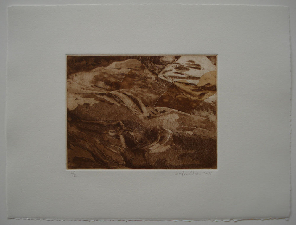 Untitled; 2011    Intaglio: aquatint, spit-bite, chine-colle; 11 x 15 in