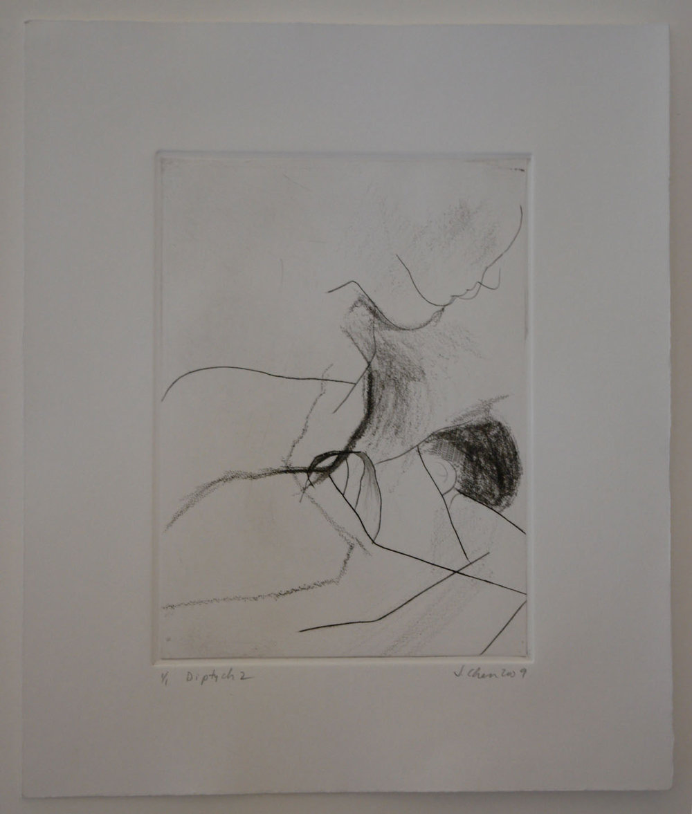 Untitled (Diptych); 2009    Drypoint, 8 x 6 in