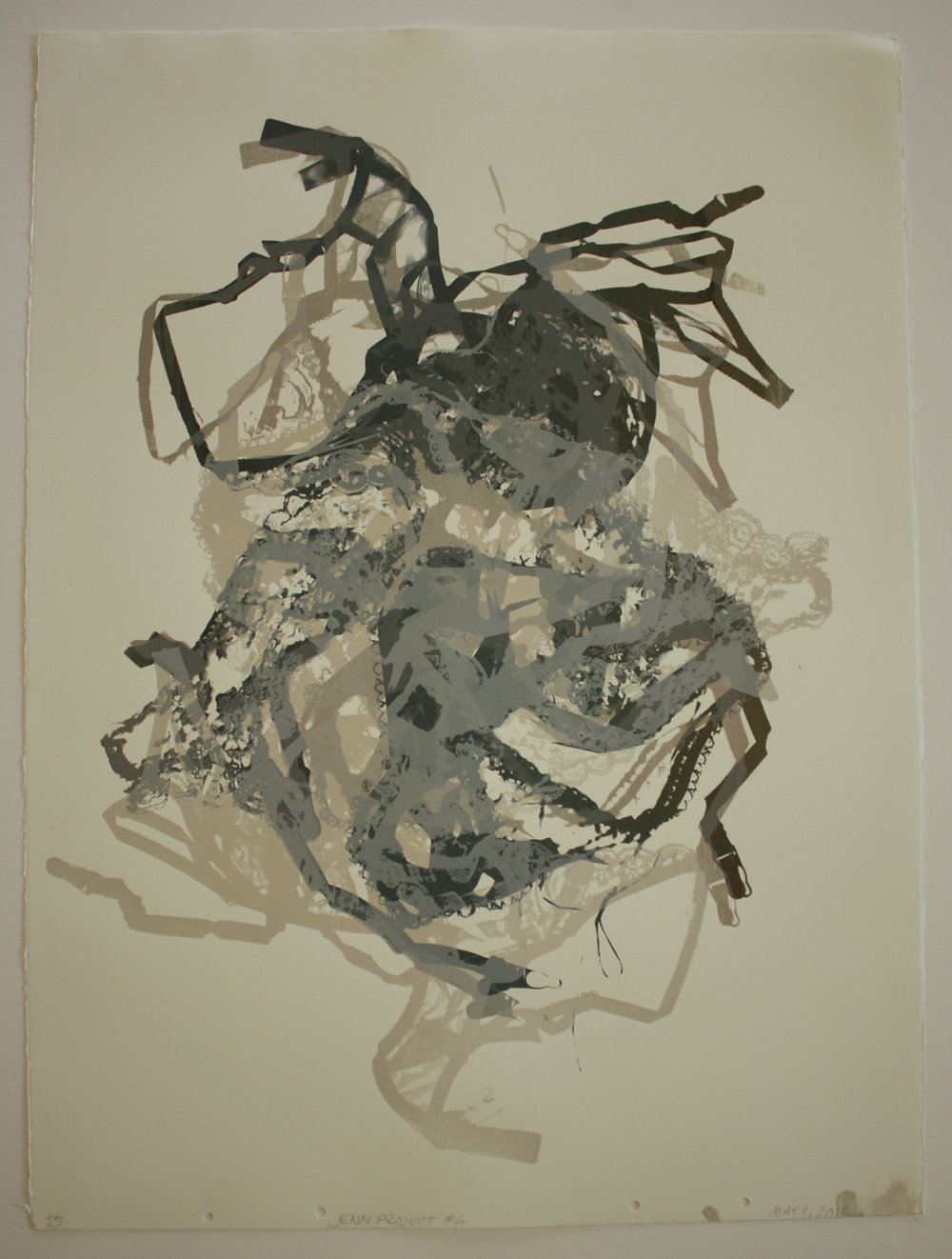 Untitled  (Lace Monotype-Articulated Teddie) #15; 2012    Screen print, 30x22""