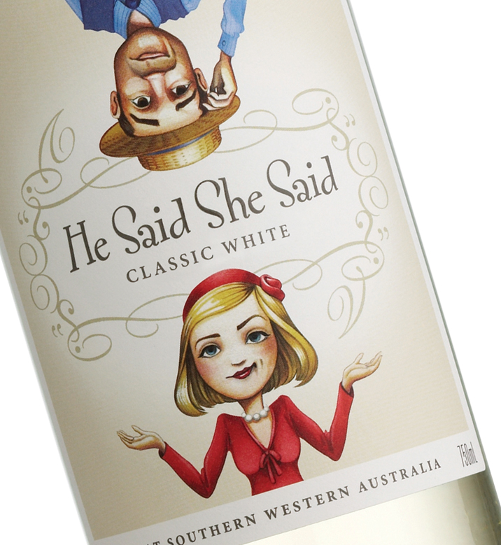 He Said She Said wine label design
