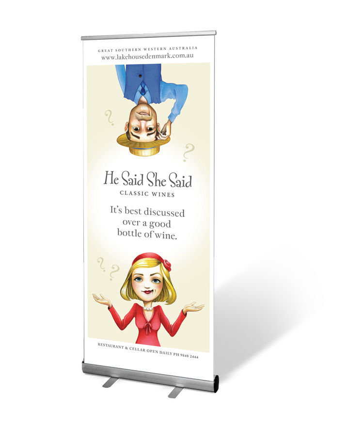 He Said She Said wine banner design