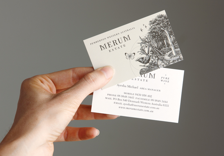 Merum Estate Winery Business Card Design