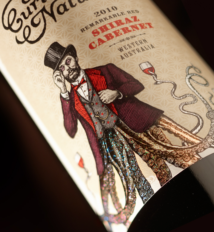 Curious Nature wine label design