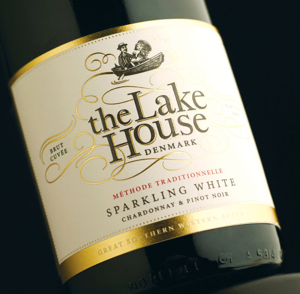 The Lake House Denmark wine label design