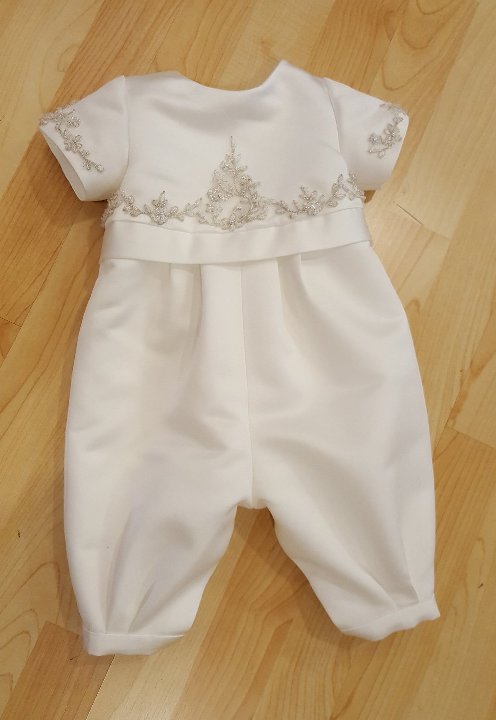 Under the Christening Gown is a Christening Romper