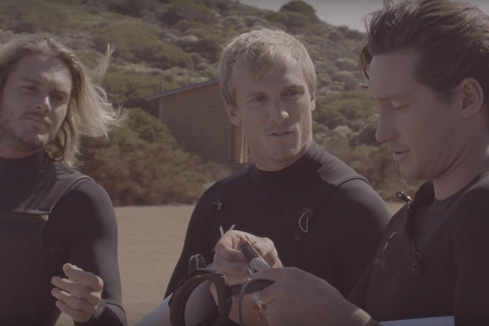 Car Park Banter - Three lads discuss the finer details of pre-surf snacks.