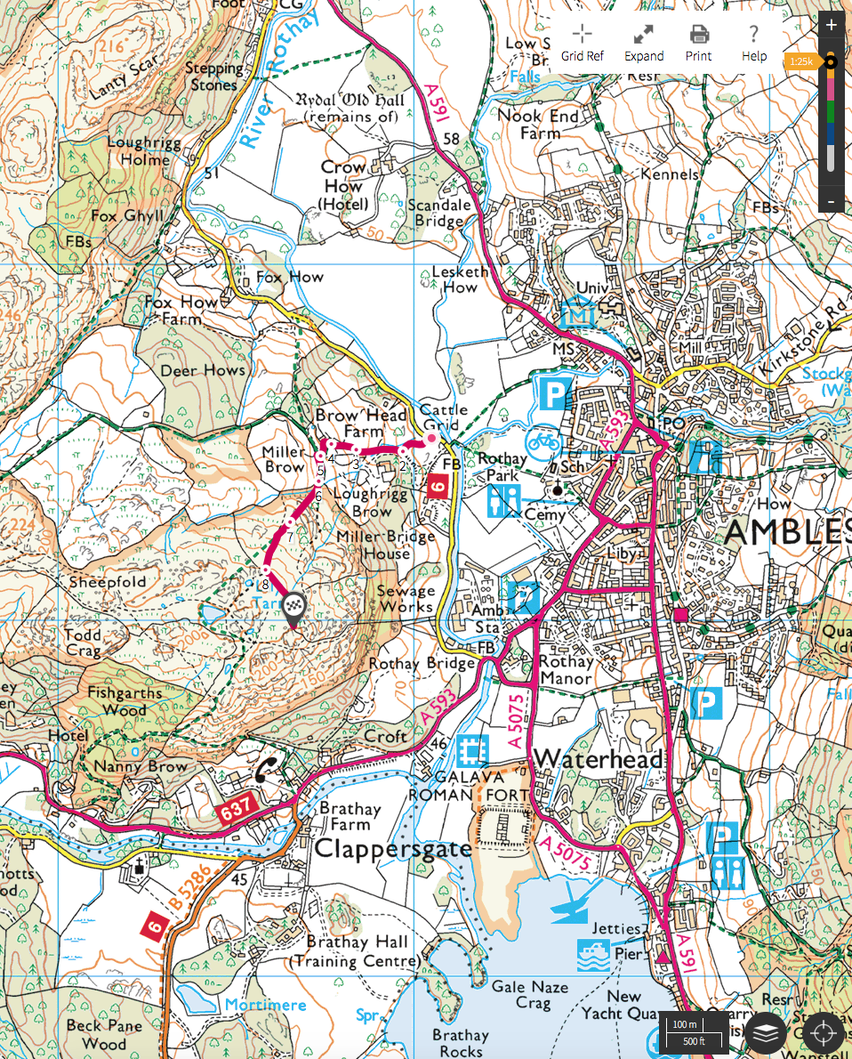 Ordnance Survey Map of my Route