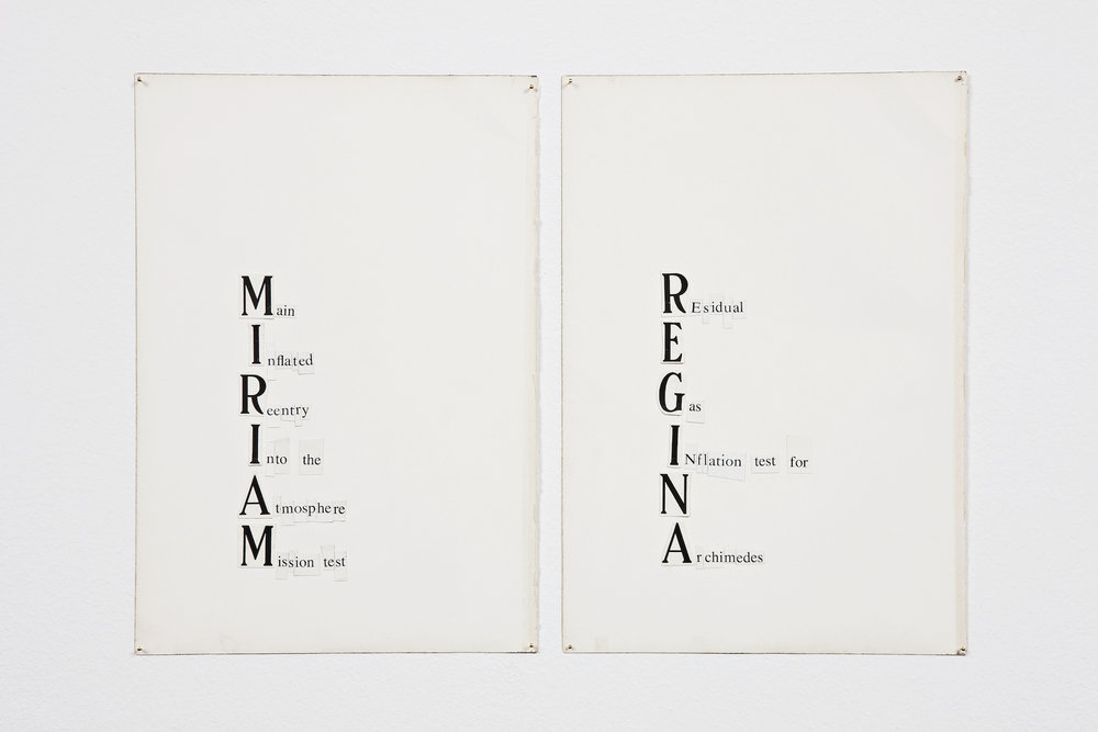 MIRIAM (Main Inflated Reentry Into the Atmosphere Mission Test),  2009, collage on paper, 16,5 x 24 cm   REGINA (REsidual Gas INflation test for Archimedes),  2009, collage on paper, 16,5 x 24 cm