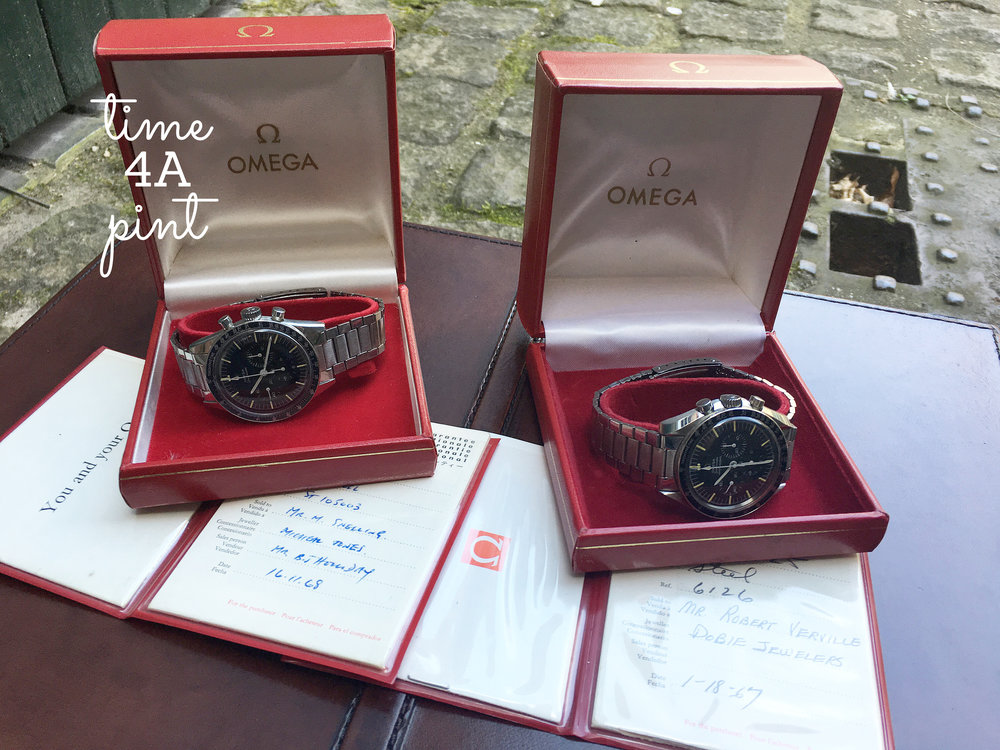 Omega Speedmaster 105.003 and Omega Speedmaster Professional 105.012-66, Full sets of boxes and papers
