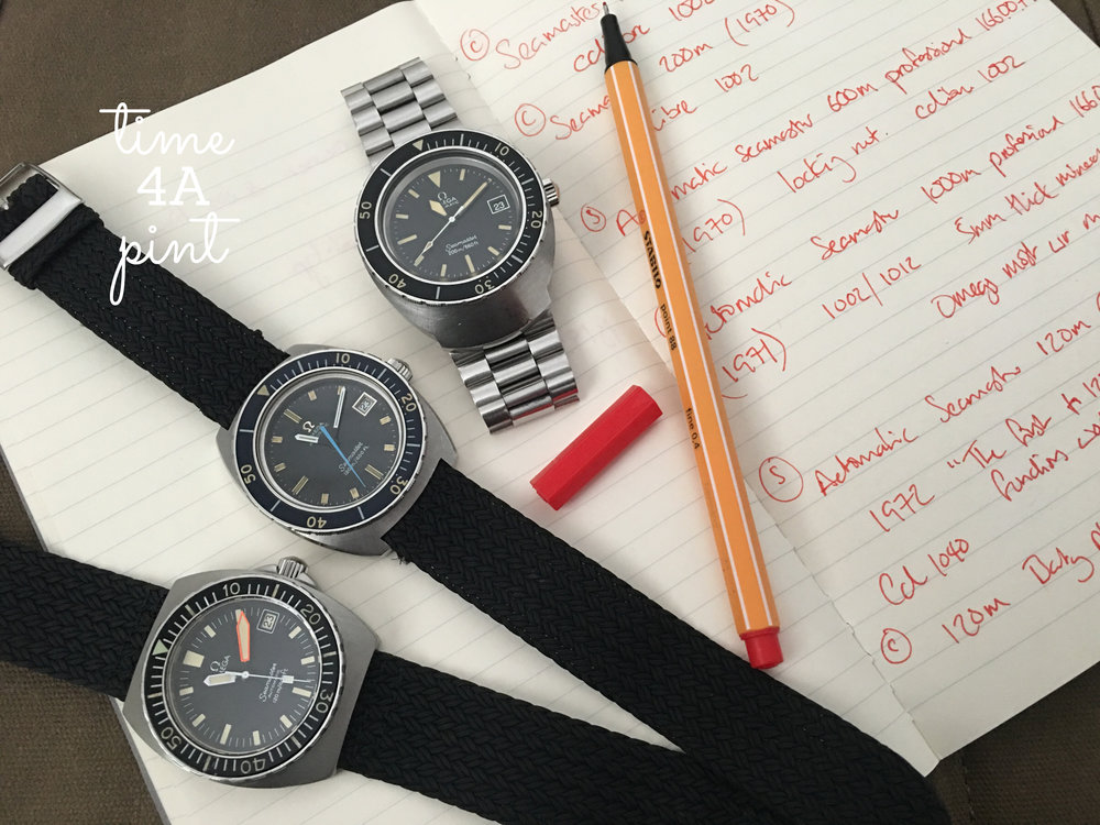 "an Omega Seamster 120m ""Blue Sweep Hand"" 166.088, an Omega Seamster 200m ""Pilot Line"" 166.091, an Omega Seamaster 120m ""Baby PloProf"" 166.0250"