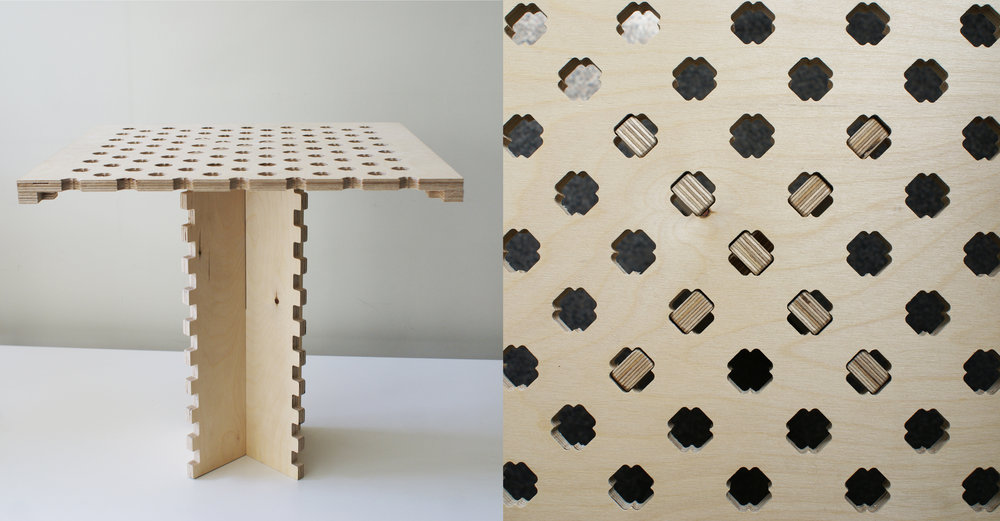Students Work: intersecting table fabricated using CNC mill