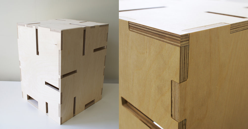Students Work: 14mm plywood stool fabricated using CNC mill