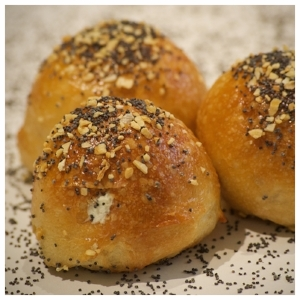 The original  - A chive, onion, dill cream cheese filled everything bagel. It's the original, and Poppy's favorite.