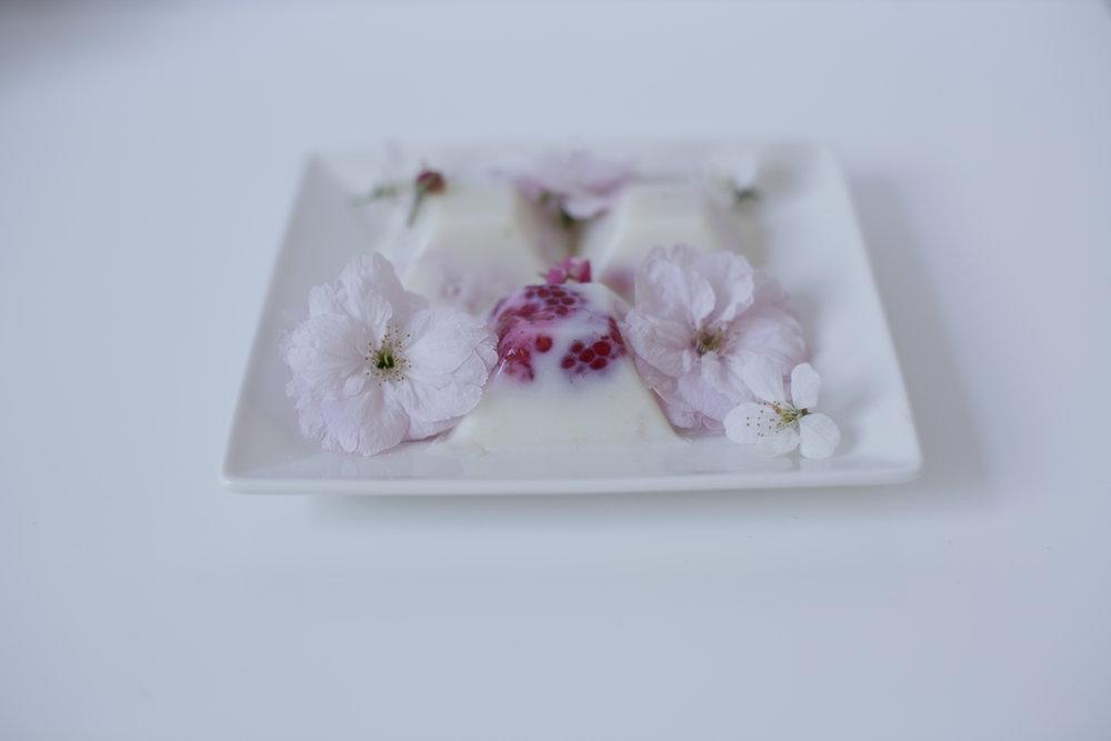 Milk Jelly with Raspberry