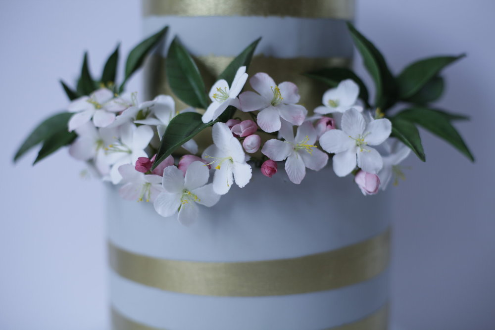 London wedding cake apple blossom