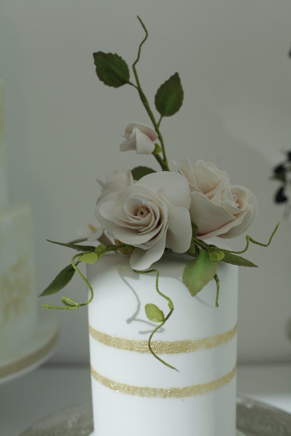 Peach rose miniature wedding cake