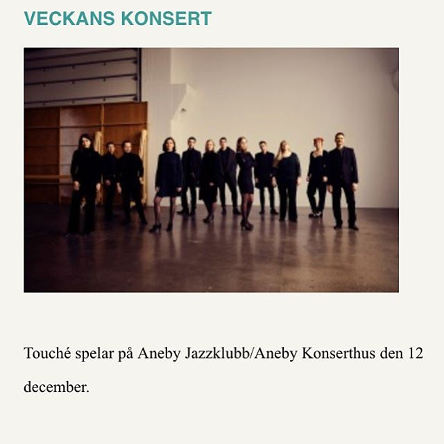 CONCERT OF THE WEEK IN SWEDISH JAZZ MAGAZINE ORKESTERJOURNALEN! Tonight, Dec 12th - join us at Aneby Jazzklubb! Welcome!! 🌟🌟