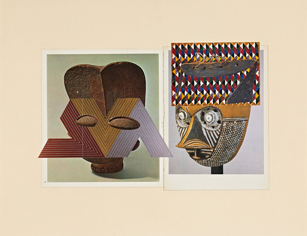re: History—Affinities (Bamileke, Pende, Stella, Jensen) - paper collage (periodicals)18 x 23 in.