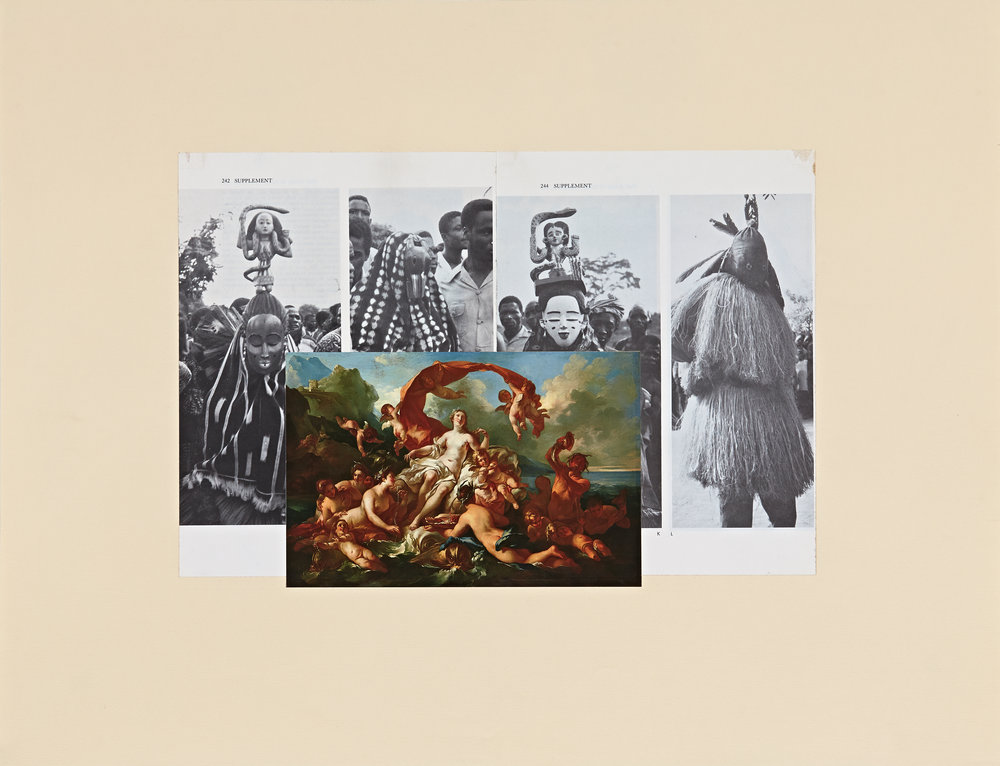re: History—Affinities (Mami Wata, Triumph ofVenus, J.P. Cazas) - Paper (periodicals) collage on paper18 x 23 in. collage