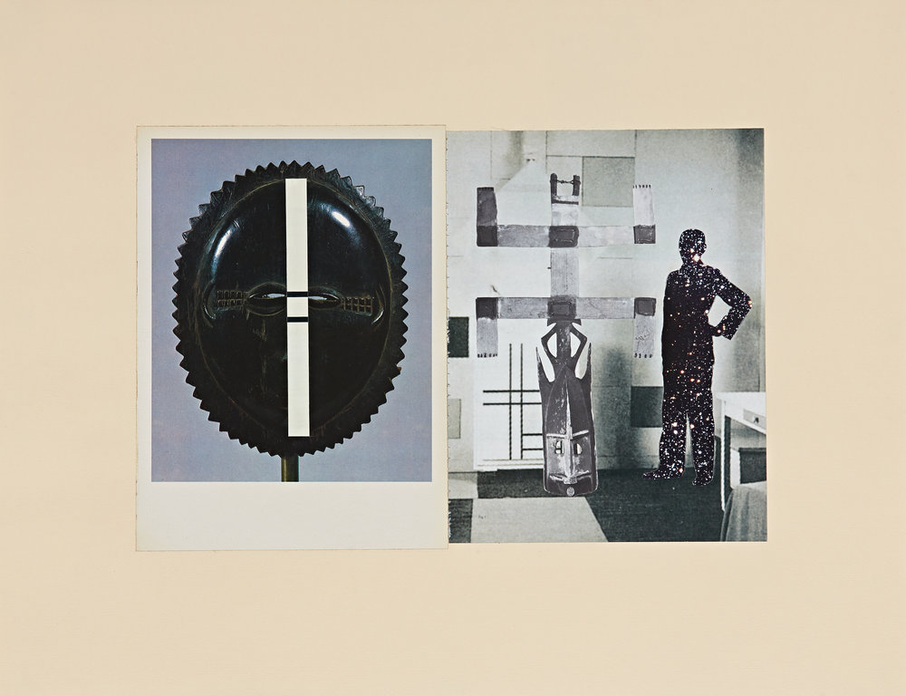 re: History—Affinities (Modrian, Baule, Dogon) - paper (periodicals) collage on paper18 x 23 in. collage
