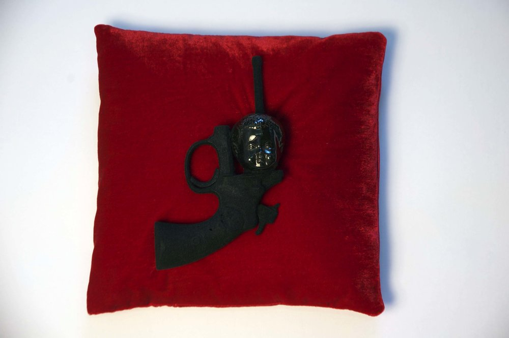 Sleeping on Reason - revolver, ceramic, velvet flocking/velvet pillow in plexi box12 3/8 x 12 3/8 x 8 3/8 in.