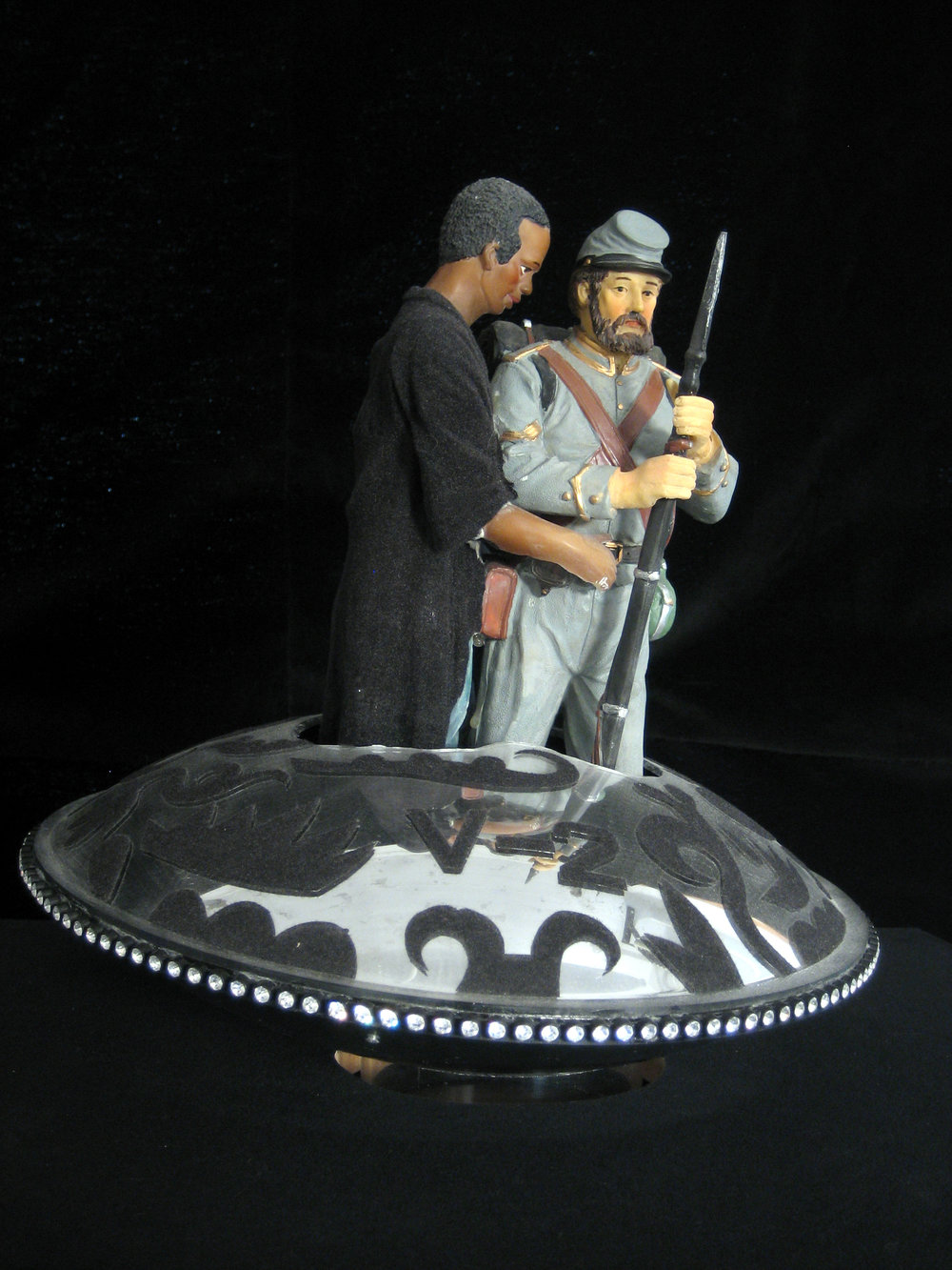 Adam and Steve (V Ship 2) - ceramic parts, plexiglass, velour flocking, rhinestones, and rotating base21 x 18 x 18 in.