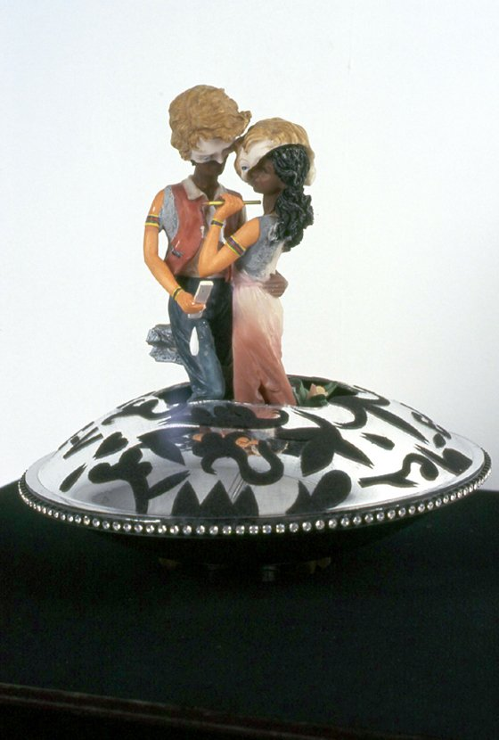 Country Romance(V Ship 3) - ceramic parts, plexiglass, velour flocking, rhinestones, and rotating base21 x 18 x 18 in.