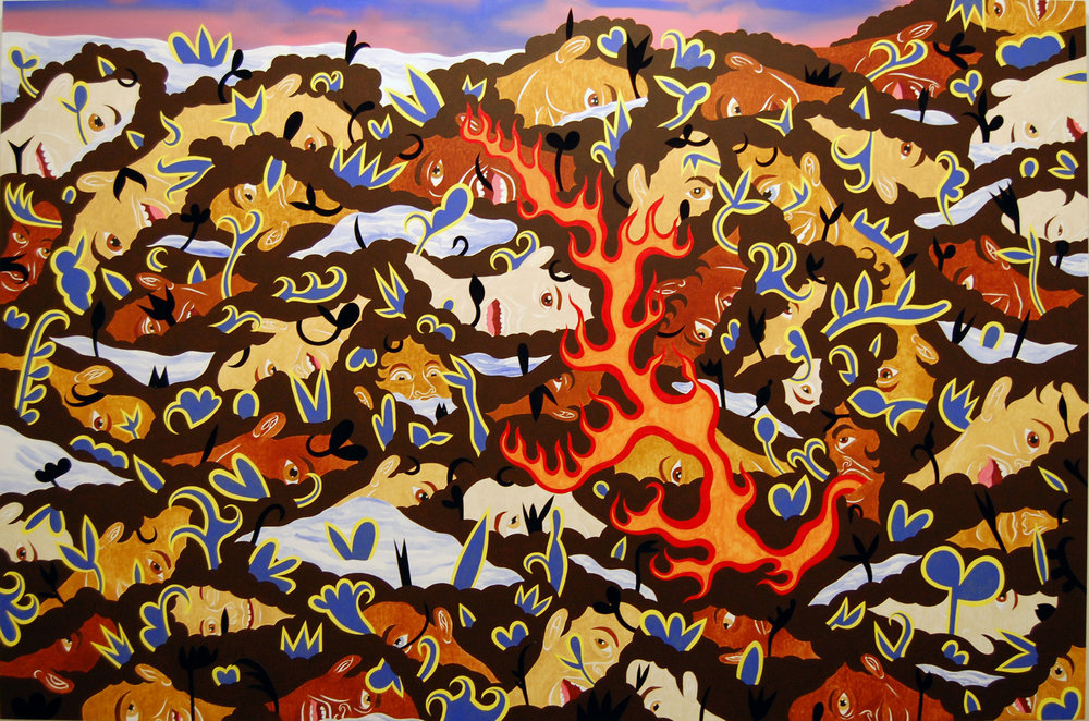 Higher Ground - acrylic and cut velour paper/canvas72 x 108 in.