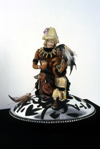 Pocahontas(v-ship 1) - ceramic, velour flocking, plexiglass, wood, turntable