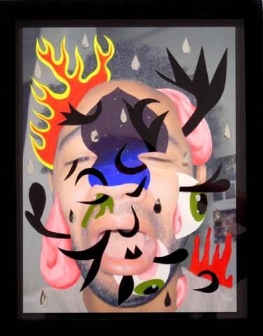 Sorrow - acrylic, photo, velour, mirrored mylar10 x 7 1/2 in.