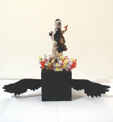 Why U Want To Fly Blackbird - ceramic parts, velour, rhinestones, wood base18 1/2 x 22 1/2 x 7 in.