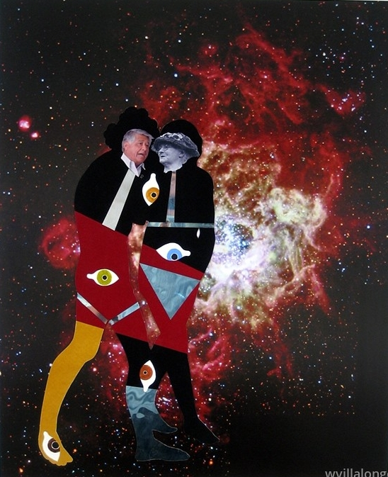 Cesar & Mother Jones In Galaxy M33 - velour paper, acrylic paint, inkjet prints and poster on museum board