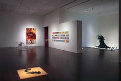 "View of ""Desire,"" 2010. From left: James Drake, Her Tank Top, 2008; Marilyn Minter, Crystal Swallow, 2006; Adam Pendleton, Missing Emmett (materials and instructions), 2005; Petah Coyne, Untitled #1103 (Daphne), 2002–2003."