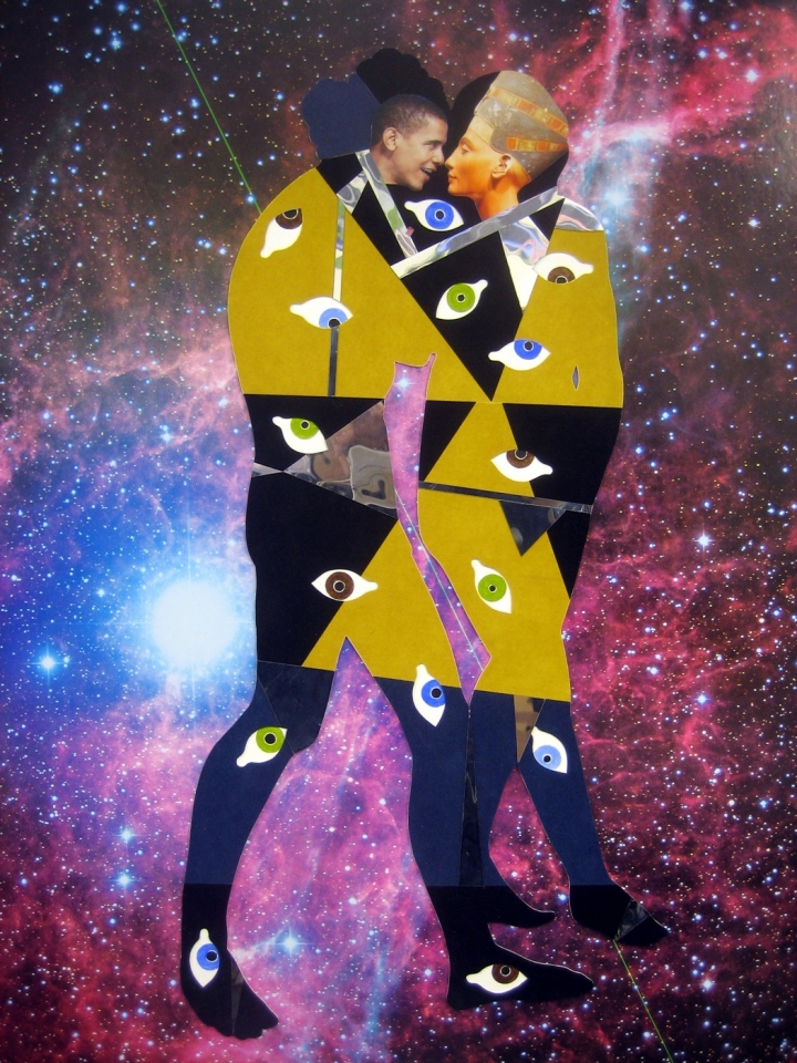 "William Villalongo, ""Barack and Nefertiti in the Vela Supernova Remnant"" (2009), hubble telescope poster, velour paper, mirrored mylar, acrylic paint, 30 x 24 in (photo © William Villalongo, courtesy the artist and Susan Inglett Gallery, NYC)"