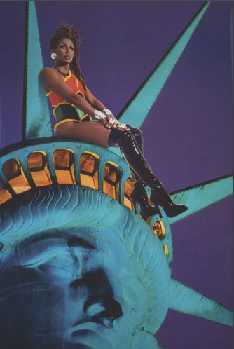 "Renee Cox's  Chillin with Liberty  (1998) is part of the ""Black Pulp!"" exhibition at the University of South Florida's Contemporary Art Museum. Courtesy of Renee Cox"