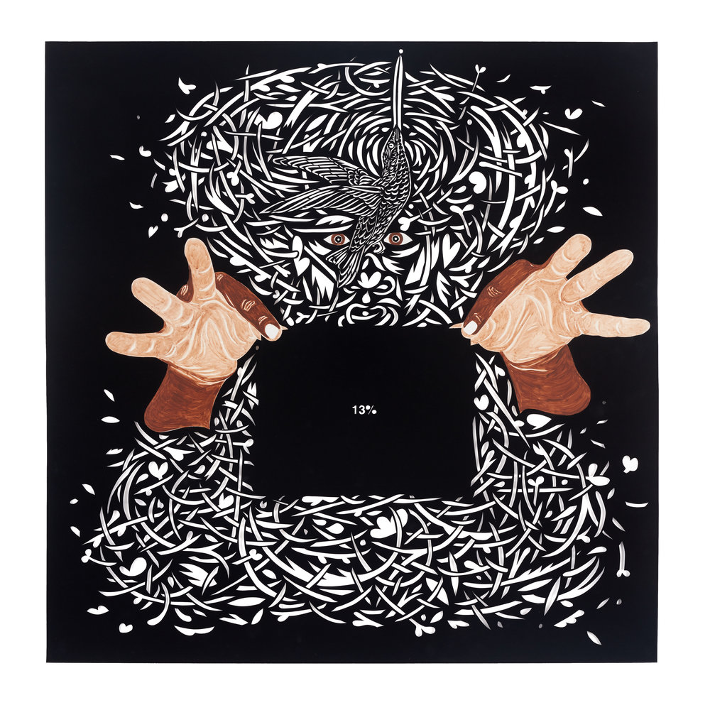 free, black and all american no. 1 - acrylic, paper collage and cut velour paper40 x 39 7/16 in. sheet45 x 44 3/8 in. framed