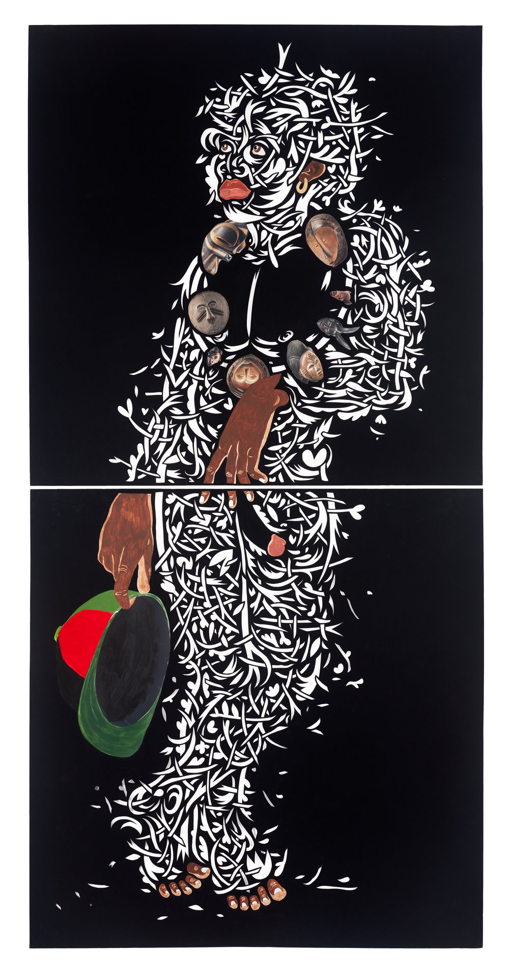 obertura de la espora (time dancer) - acrylic, paper collage and cut velour paper80 1/4 x 39 1/2 in. sheet( 2 sheets, 40 x 1/8 x 39 1/2 in. each )85 1/4 x 44 5/8 in. framed