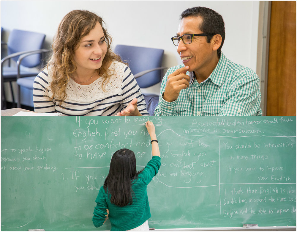 I taught English at the Community English Program at Columbia University. - Did I write on the blackboard?