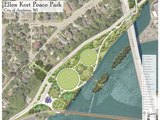 Concept A. Includes Landbridge over Water St., Island overlook and small Trailhead Shelter