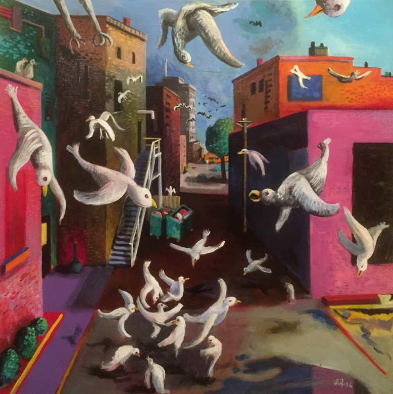 "Alley Birds  2017. Acrylic on canvas 30"" x 30"" $700 On display at Beckets in Oshkosh"